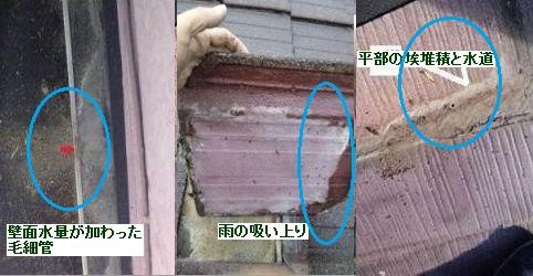 スレート屋根毛細管雨漏り