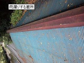 落ち葉堆積による雨漏り・奈良県