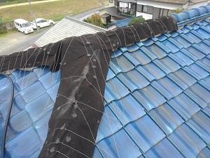 台風被害での屋根調査です