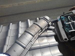 猪名川町での屋根修理調査