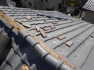台風21号による屋根修理調査