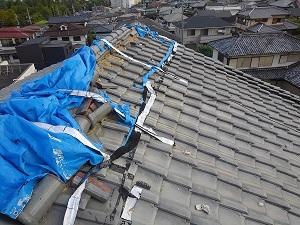 枚方市にて台風21号の再応急処置工事