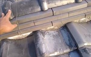 豊中市にて瓦屋根の修理調査
